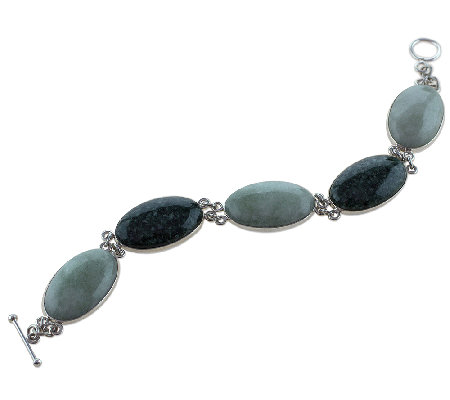 Novica Artisan Crafted Sterling Jade Station Bracelet