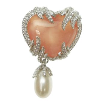 Judith Ripka Sterling Pink Opal and Diamonique Heart Pin