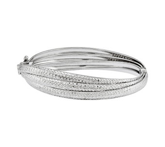 Sterling Triple Diamond-Cut Hinged Bangle by Silver Style - J342005