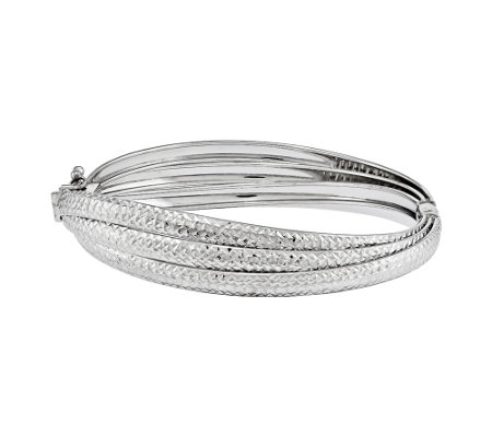 Sterling Triple Diamond-Cut Hinged Bangle b y Silver Style