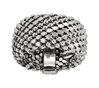 Sterling Silver Beaded Mesh Ring b y Silver Style - J342105