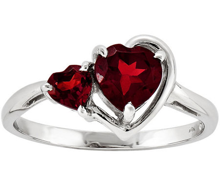 Double Heart Garnet Ring, 14K White Gold