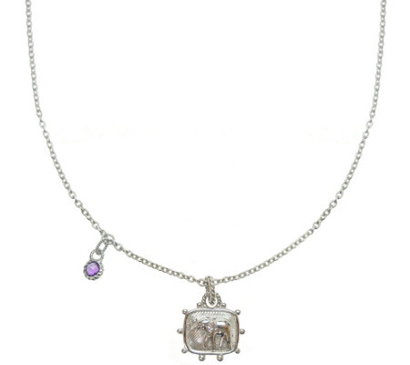 "Judith Ripka Sterling Diamonique Elephant 18"" Necklace"