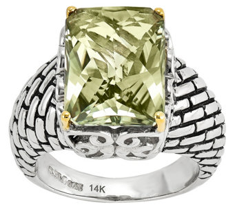 Sterling and 14K Gold 6.80 ct Mint Quartz Ring - J342405