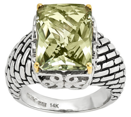 Sterling and 14K Gold 6.80 ct Mint Quartz Ring
