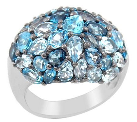 Sterling Blue Topaz Pave Domed Ring