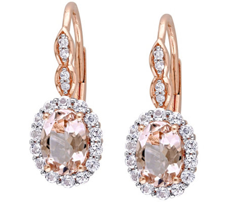 1.40 cttw Morganite & 0.80 White Topaz Earrings, 14K Rose Gol