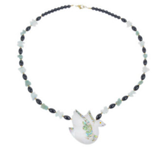 Lee Sands Swan Inlay & Gemstone Bead Necklace - J343605