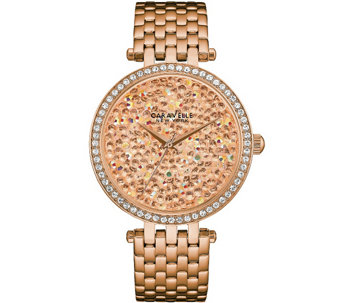 Caravelle New York Women's Rosetone Watch w/ Rose Crystal Dia - J344205