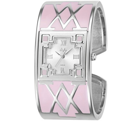 Women's Silvertone and Pink Bangle Cuff Watch