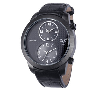 V19.69 Italia Men's Dual-Time Black Watch with Black Strap - J344505