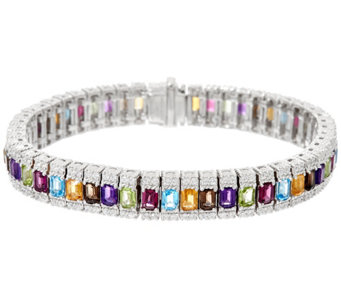 """As Is"" Judith Ripka Sterling Silver10.20cttw Gemstone Avg. Tennis Bracelet - J346105"
