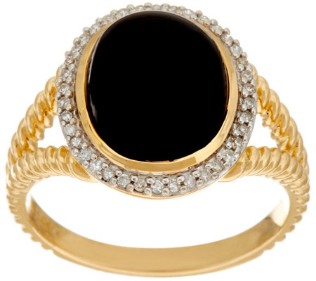 Black Onyx & Diamond Rope Design Ring, 14K Gold