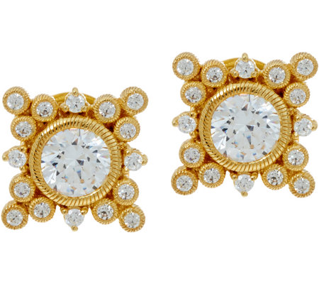 Judith Ripka Sterling & 14K Clad 3.35 cttw Diamonique Earrings