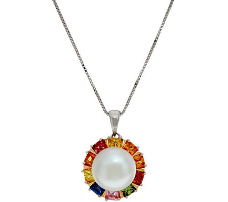 "Honora 18"" Cultured Pearl Colors of Sapphire Pendant"