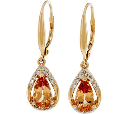 Pear Shaped Imperial Topaz & Diamond Drop Earrings 14K, 1.95 cttw