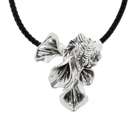 Or Paz Sterling Silver Calla Lily Pendant with Braided Cord