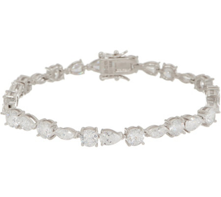 Diamonique Mixed Cut Tennis Bracelet Platinum Clad