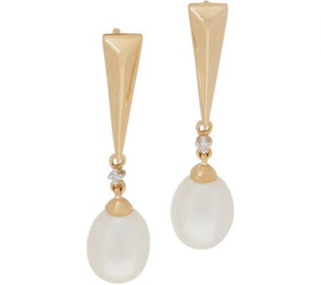 Honora Cultured Pearl Pyramid Drop Earrings, 14K Gold