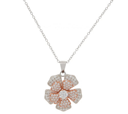 Diamonique Spinning Flower Pendant with Chain Sterling Silver