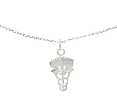 "Sterling Nurse Pendant w/18"" Chain by Silver Style"