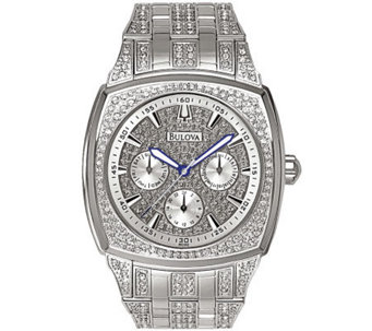 Bulova Men's Crystal Bracelet Watch w/ Pave Dial - J109806