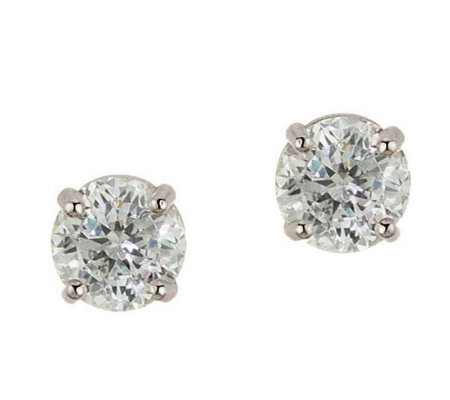 Diamonique 0.75 ct tw 100-Facet Stud Earrings,14K Gold