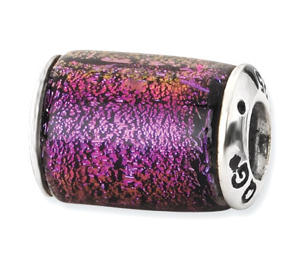 Prerogatives Sterling Purple Dichroic Glass Barrel Bead