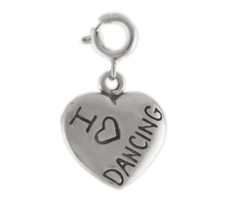 Sterling I Love Dancing Heart Charm