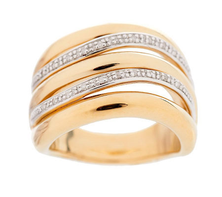 Bold Multi-row Diamond Accent Band Ring 14K Gold