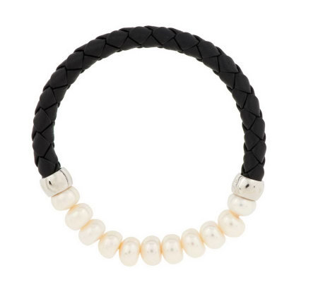 Honora Cultured Pearl 7.5mm Button Braided Leather Stretch Bracelet