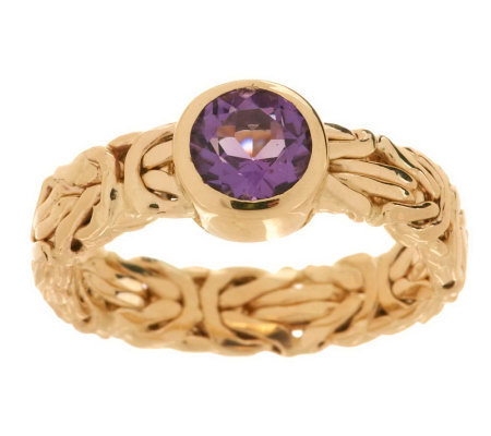 Gemstone Byzantine Band Ring 14K Gold