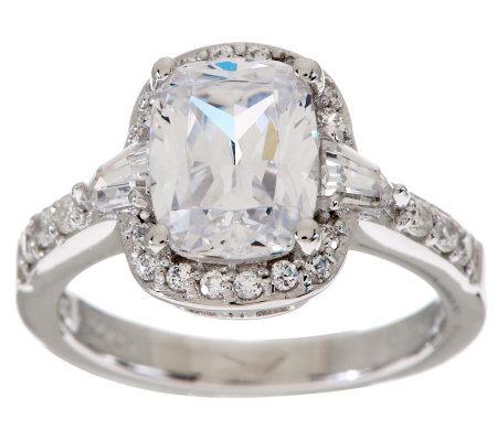 epiphany diamonique 2 75 ct tw emerald cushion cut ring