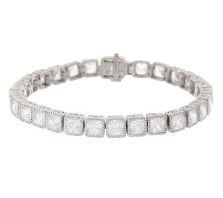 "Judith Ripka Sterling 7-1/4"" Princess Cut Diamonique Tennis Bracelet"