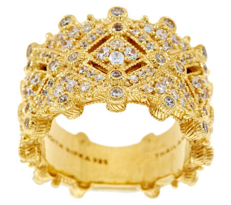 Judith Ripka Sterling/14K Gold Clad Estate Style Diamonique Ring