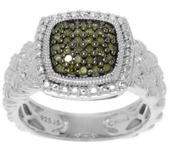 Pave' Color Cushion Diamond Ring, Sterling, 1/4 cttw by Affinity - J286106