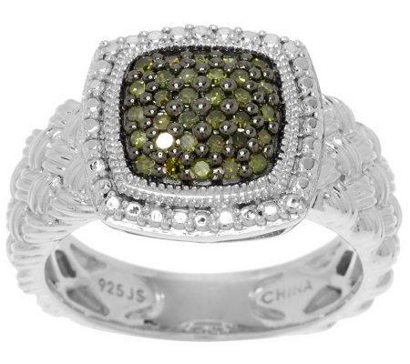 Pave' Color Cushion Diamond Ring, Sterling, 1/4 cttw by Affinity