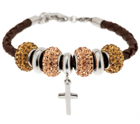 Stainless Steel Leather Bracelet with Cross and Crystal Beads