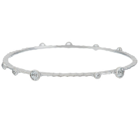 Italian Silver Sterling 1.00 ct tw White Topaz Station Bangle