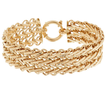 "14K Gold 6-3/4"" Polished & Diamond Cut Triple Woven Bracelet, 12.2g"