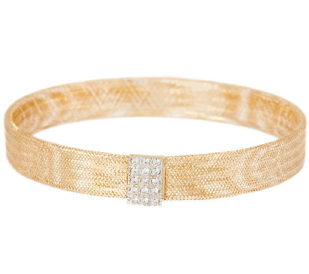 VicenzaGold Crystal Station Mesh Stretch Bracelet 14K Gold
