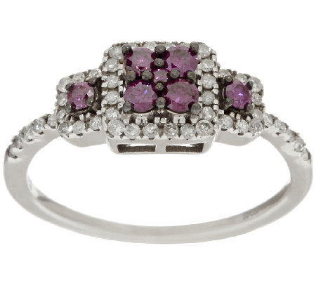 3-Stone Purple Diamond Ring, Sterling, 1/2 cttw, by Affinity