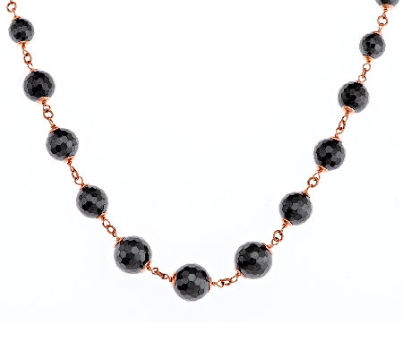 "Bronze 18"" 200.00 cttw Hematite Bead Necklace by Bronzo Italia"
