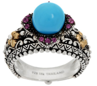Barbara Bixby Sterling & 18K Turquoise & Rhodolite Statement Ring - J290406