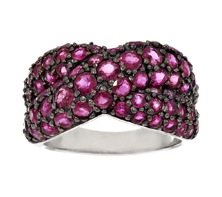 3.70 ct tw Thai Ruby Sterling Cross Design Ring
