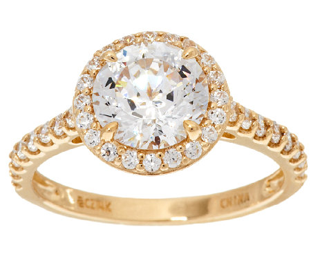 diamonique 100 facet halo ring 14k gold page 1