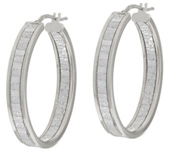 "Vicenza Silver Sterling 1-1/2"" Inside-Out Pave' Glitter Hoop Earrings - J296606"