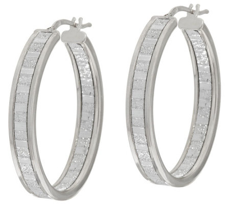 "Vicenza Silver Sterling 1-1/2"" Inside-Out Pave' Glitter Hoop Earrings"