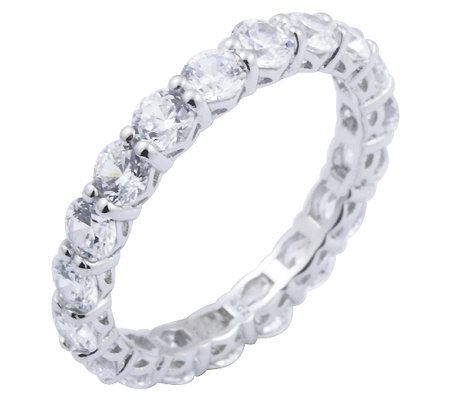 Diamonique 2.70 cttw Eternity Band Ring, Platinum Clad