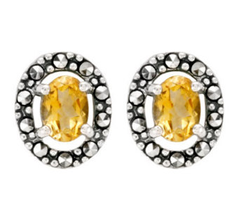 Suspicion Sterling Marcasite Oval Citrine Button Earrings - J298506